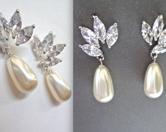 Brides earrings ~ Pearl drop earrings ~ Marquise cut posts ~ Wedding earrings ~ Cubic zirconias ~ Leaf design ~ Lux ~ LILLY