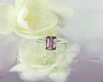 Unique Tourmaline Ring, Purple Solitaire Ring, Tourmaline Ring, Tourmaline Sterling Ring, Purple Gemstone Ring, October Birthstone,