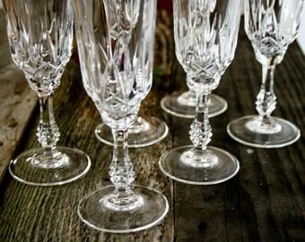 Beautiful, Cut Crystal Long Stem, Champagne Flutes, Set of 6