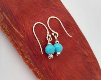 Turquoise Howlite Earrings in Sterling Silver. Small Dangle Earrings. Minimalist Earrings. Petite and Dainty Earrings. Everyday Wear Jewelry