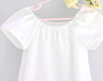 Classic White Cotton Nightgown Portrait Dress Beach Dress, Sizes 5T 5 6 7 8, Rose and Ruffle