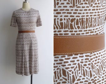 15% SALE (Code In Shop) - Vintage 70's 'Afrikka' Tribal Tiki Print Polyester Knit A-Line Dress XS or S