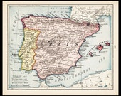 Small Spain Map of Spain Portugal Map of Portugal (Antique Map Wall Art, Early 1900s Vintage Decor Print) Nice Old Color Atlas Map No. 139-2