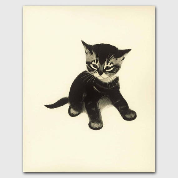 Cat Wall Art, Cat Print (Girl Nursery Wall Art, Vintage Childrens Book Art) --- Tabby Kitten