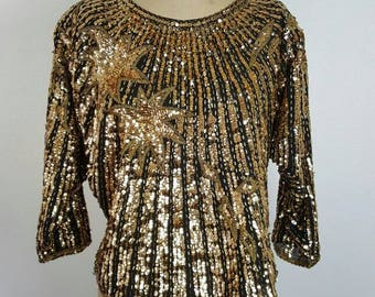 Iris Gold Starburst Beaded Top - Medium