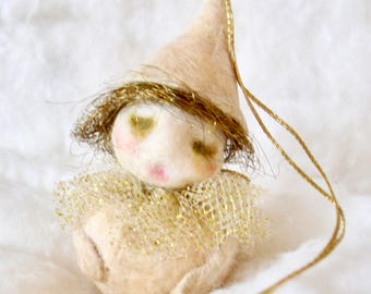 Spun cotton feather tree Christmas roly poly sprite OOAK vintage craft ornament by jejeMae