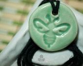 Celadon Green Bee Essential Oil Diffuser Necklace   Lisa C. Warren   Handmade   Aromatherapy Natural Medicine