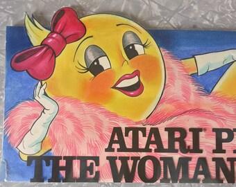 Atari Ms. Pac-Man Advertising Illustration Artwork Billboard Presentation Comp 1982 Vintage Video Game Arcade Icon History