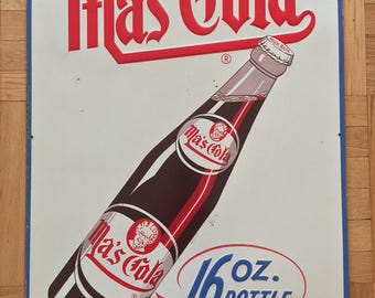 Ma's Cola 16 Oz Bottle Soda Sign Embossed Rare Large Version Collectable Advertising