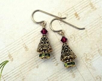 Christmas Tree Earrings, Tree Earrings, Christmas Earrings, Holiday Earrings, Dangle Earrings, Pewter Tree Earrings, Christmas Jewelry