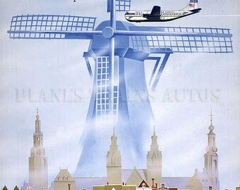 Vintage PanAm Airline Poster 1950. Amsterdam by Clipper. Instant Download - Printable Poster