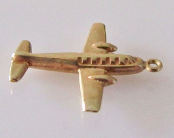 9ct Gold Airplane Vintage Bracelet Charm