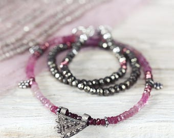 Ruby Necklace - July, September Birthstone Necklace - Ruby, Sapphire, Silver Necklace  - Pink Stone Necklace - Ruby Jewellery For Women