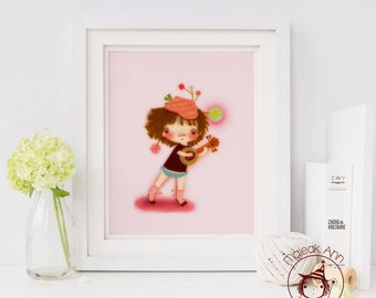 Mandolino's Lullaby - Nursery Decor - Fine Art print -Girl's room - whimsical, mandolin, music, adorable baby girl illustration, pink, cute