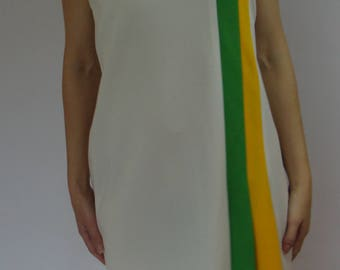 sporty RACING STRIPE DRESS vintage 1960's 1970's shift M