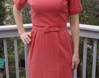 CORAL PINK SHEATH dress belted vintage S 26.5 waist 50's 60's