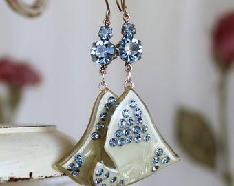 Antique  Celluloid assemblage earrings rhinestones lt. blue light  swarovski , retro  statement celluloid earrings vintage jewelry dove bird