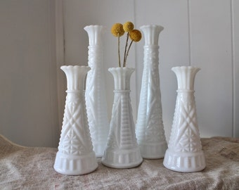 Vintage Milk Glass Vases - Wedding Decor - Instant Milk Glass Collection - 5 Piece Set - White Vases - Tall and Short Vases - Matching Vases