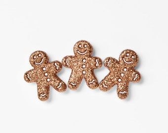 Gingerbread Men Glitter Magnets. Cute Gift for Co Workers, Foodies, Friends. Christmas Kitchen, Kids Room, Holiday Home Decor. Gift Set of 3