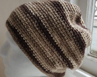 Beanie Hat  handmade crochet In shades of brown   - made in Wales UK