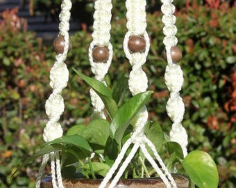 CIRQUE - Handmade Macrame Plant Hanger with Wood Beads - 6mm Braided Poly Cord in IVORY