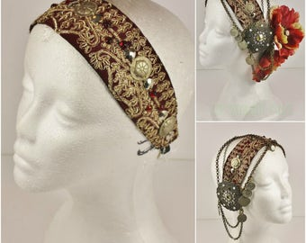 Vintage Headdress Base- Red and Gold Sari Trim Base- Tribal Fusion Bellydance, Boho, Festival & Bridal Headpiece