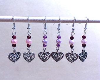 Silver Hearts & Two-tone Pearl Earrings, Silver Heart Charms, Filigree Earrings, Handmade Beaded Jewelry, Valentine's Day Jewelry, Gift Idea