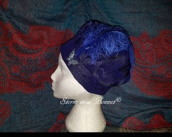 Regency Beret or Tam decorated with feather and butterfly broach