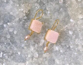 Druzy-Druze-Pink Quartz Earrings-Dangle Earrings- with Pearl