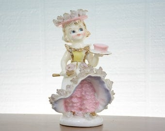 Lipper & Mann Creations Girl Figurine with Pink Pantaloons and Spaghetti Flowers