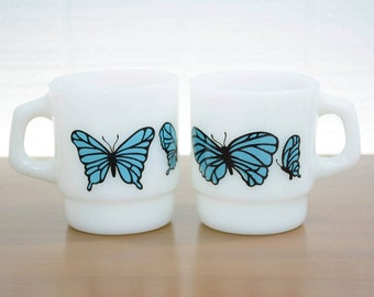 Retro Anchor Hocking Stacking Milk Glass Mugs with Blue Butterflies