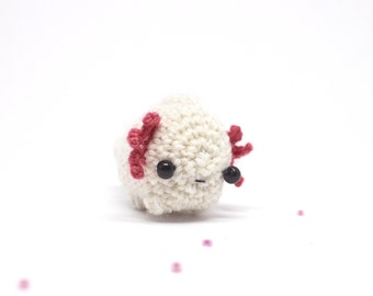 white axolotl plush - miniature crochet amigurumi animal