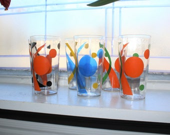 6 Mid Century Modern Glass Tumblers Vintage 1950s