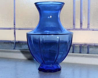 Art Deco Cobalt Blue Glass Vase Vintage 1920s