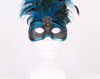 READY TO SHIP: Blue Jay Feather Mask - Black Turquoise - Blue Jay Beauty - Masquerade Costume Accessory - One Size Fits Most
