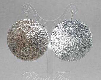 Silver Disc Earrings Big Disc Earrings Large Disc Earrings 2 inch Disc Earrings Sterling Silver African Earrings Tribal Earrings Earings