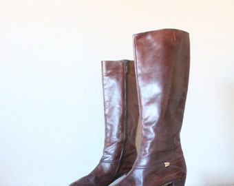 Vintage 1970's Salvatore Ferragamo Bourbon Knee High Boots Sz 6.5AAA