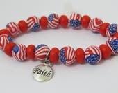 Bracelet, USA Flag Bracelet, Star bracelet, Artisan bracelet, red, blue and white, unique handmade, faith bracelet, handmade bracelet.