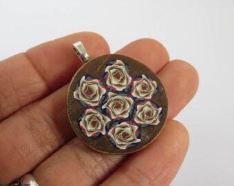 Pendant, Stunning pendant, Gold rose pendant, Gold roses, DIY crafts, pendant for her, clay pendant, rose art, Artisan pendant, 1 piece