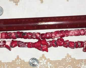 Vintage Red Coral BEADS Chunky Beaded necklace