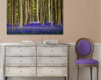 Bluebell Forest Canvas, Nature Photography, Purple Wall Decor, Magical, Trees, Fairytale Forest, Woods, Home Decor, Large Canvas, Art Print
