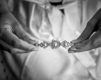 Bridal Tiara, Crystal Wedding Crown, Bridal gold headpiece, Crystal Pearl Tiara, Swarovski Bridal Tiara, Rhinestone Tiara, Wedding Tiara
