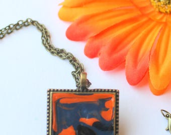 Halloween Art Pendant Necklace, Abstract Animal Necklace, Goth Jewelry, Original Painting, Antique Style, Blue Rhinestone, Orange and Black