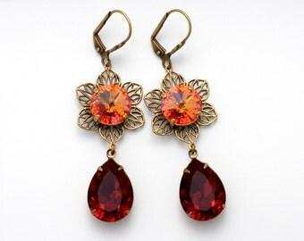 Red Rhinestone Flower Earring, Crimson Red Swarovski Crystal Earring, Red Crystal Jewelry, Crystal Flower Jewelry, Rhinestone Earring, Erlea