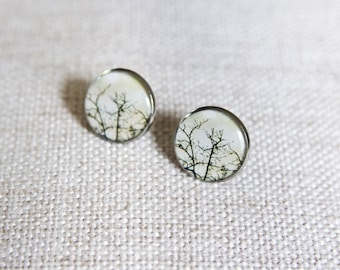Tree branch stud earrings. Bare trees. Branches earrings. Woodland resin photo jewelry for nature lover.
