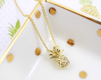Small Gold  Pineapple  Necklace, Pineapple Pendent  Necklace,Bridesmaid Gift,Birthday Gift, Dainty Necklace