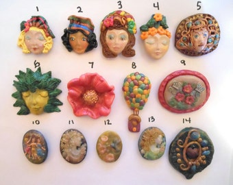 Brooches/Choice of 14 Styles/OOAK/Polymer Clay Brooches