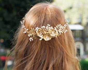 Stunning Statement Gold Bridal Crown or Circlet with Large Gold Flowers, Also Available in Silver