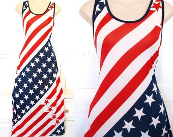Vintage 90s era stretchy American flag tank style maxi dress size womes size S or girls size L/XL
