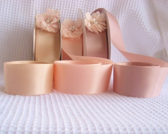 Rose Gold Satin Ribbon Vintage Blush Double Sided High Quality Satin Weddings, Invitations, Sashes Crafts, Apparel,  By the Yard